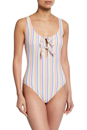 kate spade new york bunny tie striped one-piece swimsuit