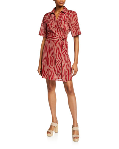 Alexa Animal-Print Coverup Wrap Dress