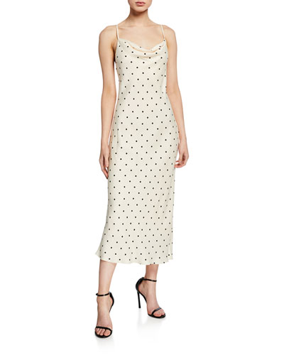 Odell Polka-Dot Cowl-Neck Bias-Cut Sleeveless Midi Dress