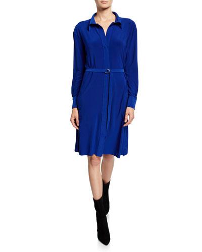 Long-Sleeve A-Line Knee-Length Shirtdress
