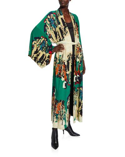 Printed Long Kimono Robe