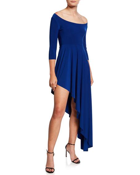 Norma Kamali Reversible Scoop-Neck 3/4-Sleeve Asymmetric Diagonal Flared Dress