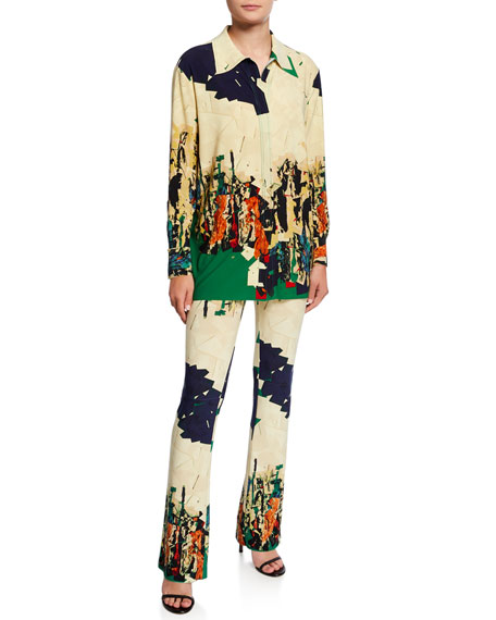 Norma Kamali Abstract Graphic High-Rise Boot-Cut Pants