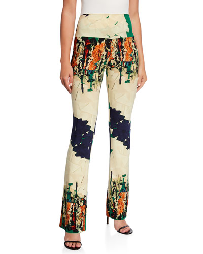 Abstract Graphic High-Rise Boot-Cut Pants