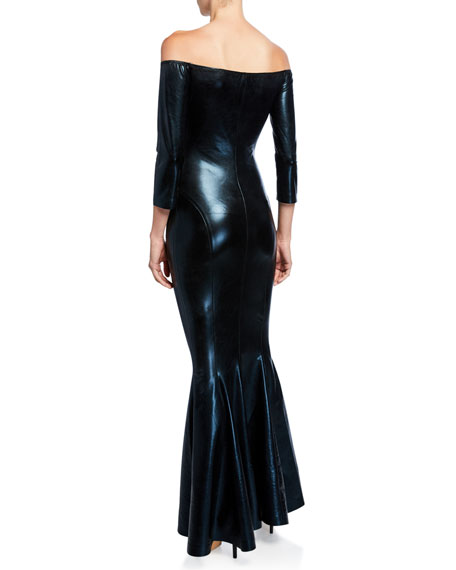 Image 2 of 2: Norma Kamali Off-the-Shoulder 3/4-Sleeve Fishtail Gown