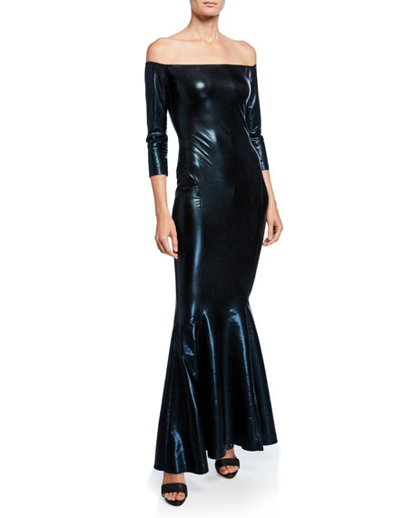 Image 1 of 2: Norma Kamali Off-the-Shoulder 3/4-Sleeve Fishtail Gown