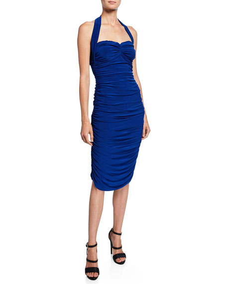 Norma Kamali Bill Ruched Sweetheart Halter Dress