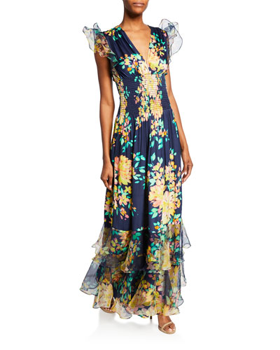 Floria Floral-Print V-Neck Sleeveless Smocked Ruffle Gown