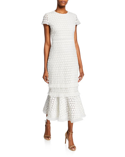 Floriana Short-Sleeve Midi Lace Flounce Dress