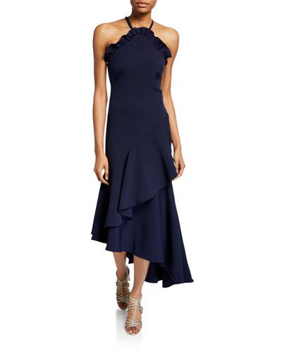 Leyma Crepe Asymmetric Ruffle Halter Gown