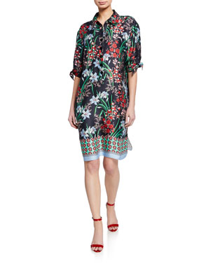 0c7b7b4826 Rickie Freeman for Teri Jon Floral-Print Button-Front Elbow-Sleeve  Shirtdress