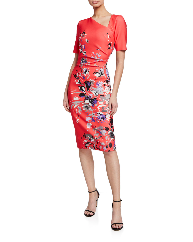 2dffbc9856 Rickie Freeman for Teri Jon Floral-Print Short-Sleeve Asymmetric Scuba Dress