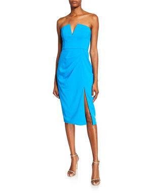 f25a4bf294a Jay Godfrey Kyle Strapless V-Neck Dress w  Thigh Slit