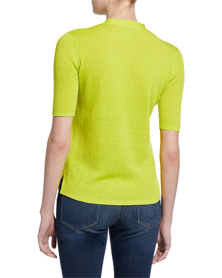 Diane von Furstenberg Paley Ribbed Short-Sleeve Sweater