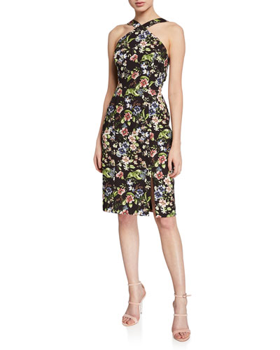 Floral-Print Crepe Cocktail Dress with Cutout-Back
