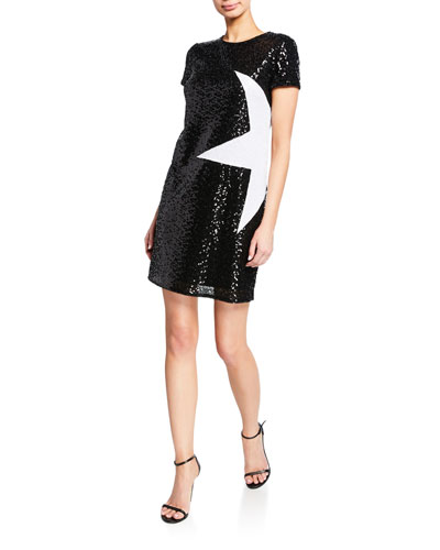 Sequin Short-Sleeve Mini Shift Dress w/ Star Applique
