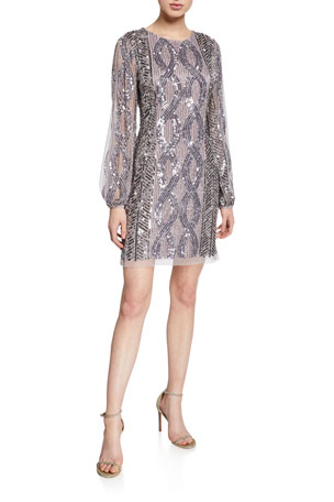 Aidan Mattox Beaded Split-Sleeve Mini Cocktail Dress