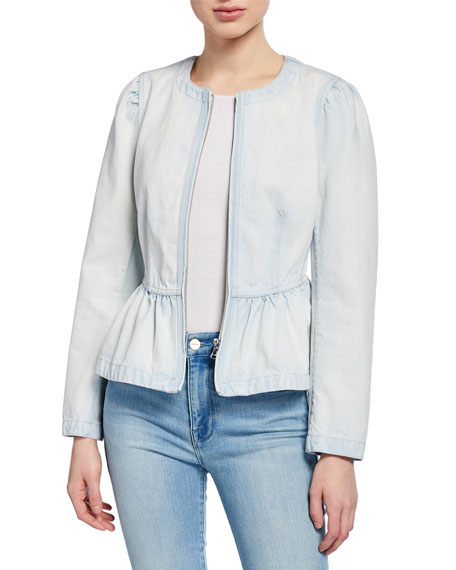 Rebecca Taylor Jackets DENIM PEPLUM JACKET