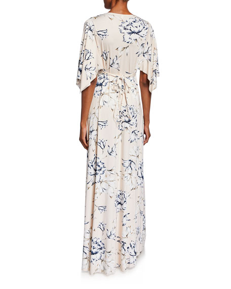 Rachel Pally Floral-Print V-Neck Short-Sleeve Long Caftan Dress