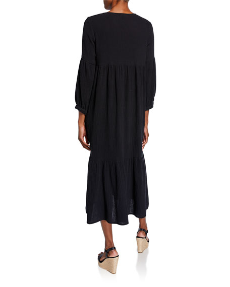 Rachel Pally Plus Size Cecelia V-Neck 3/4-Sleeve Tiered Cotton Gauze Dress