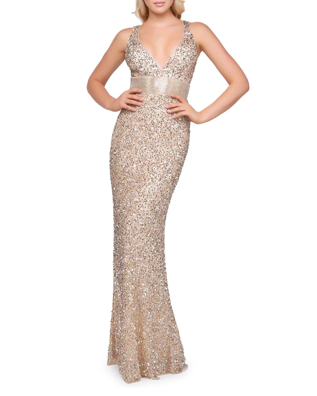 Mac Duggal Gold Sequin V-Neck Empire-Waist Sleeveless Column Gown