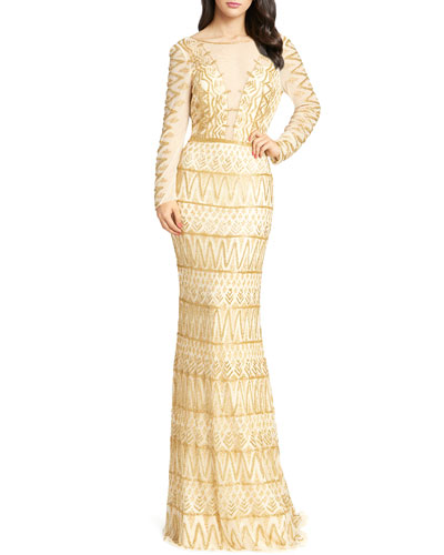 Aztec Beaded Illusion Gown with Open-Back