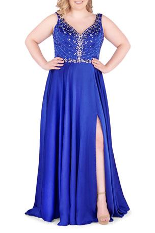 Ieena for Mac Duggal Plus Size Embellished Bodice V-Neck Sleeveless Satin Gown