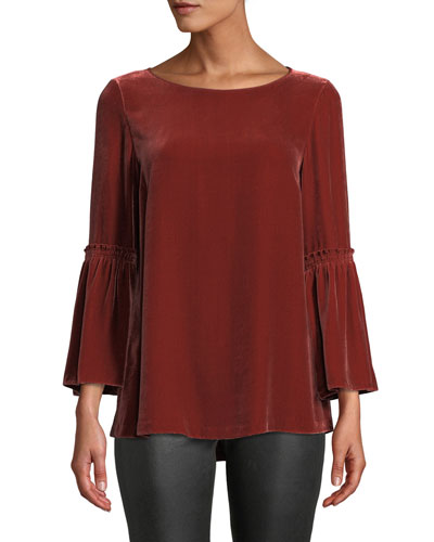 Roslin Bell-Sleeve Blouse in Velvet