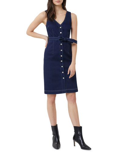 Albany Sleeveless Button-Front Belted Dress