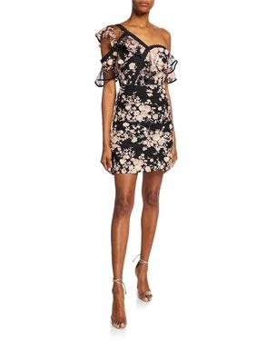 cc9590a5d885 Self-Portrait Frilled Midnight Floral One-Shoulder Mesh Dress