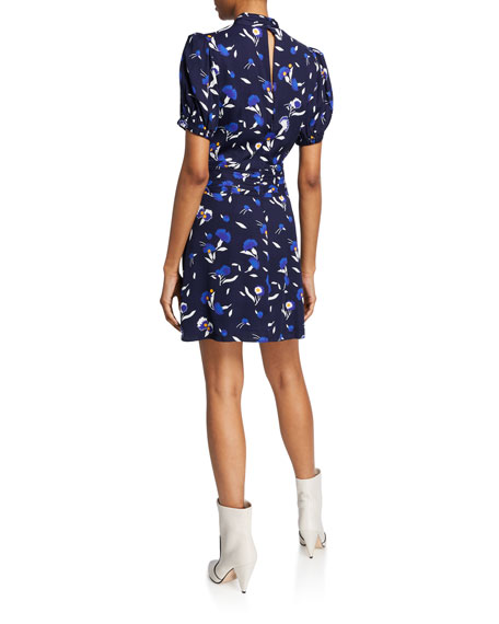 Self-Portrait Botanical-Print Short-Sleeve Mini Dress