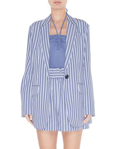 Striped Viscose Twill Oversized Blazer