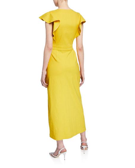 A.L.C. Walker Flutter-Sleeve Wrap Dress