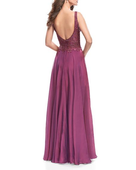 La Femme Sequin Lace Bodice V-Neck Sleeveless Chiffon Gown