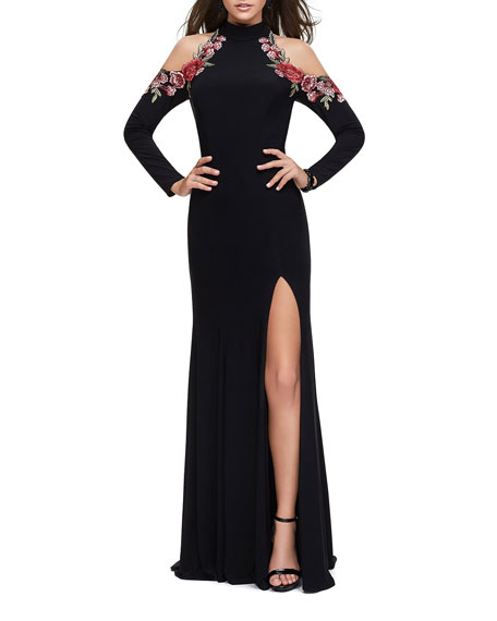 La Femme Cold-Shoulder Long-Sleeve Halter Gown with Embellished Rose Appliques