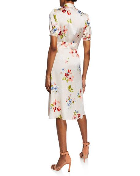 Jill Jill Stuart Blush Floral-Print Tie-Neck Short-Sleeve Dress