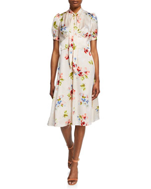 e4c166e2b5d Jill Jill Stuart Blush Floral-Print Tie-Neck Short-Sleeve Dress