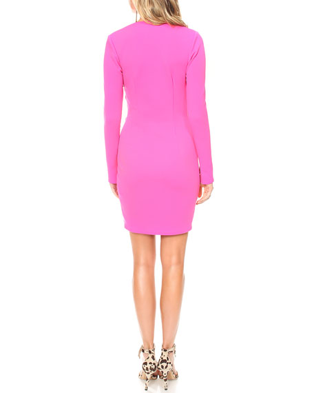 Katie May Next Round Plunge-Neck Long-Sleeve High-Low Pebble Crepe Dress