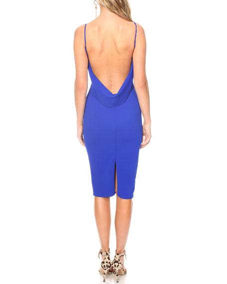 Katie May Pretty Bird Low-Back Pebble Crepe Slip Dress