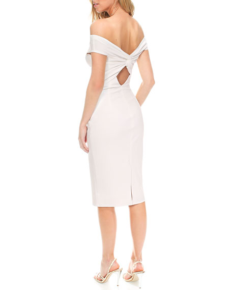 Katie May Harlow Shirred Off-the-Shoulder Pebble Crepe Dress w/ Cutout Back