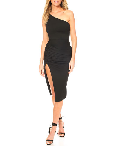 New Age One-Shoulder Crepe Dress with Cutout Back & Thigh Slit