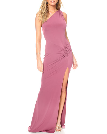 Katie May Attention Seeker Draped One-Shoulder Cutout-Back Jersey Gown