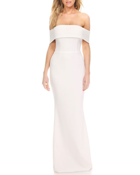 Katie May Legacy Cuffed Off-the-Shoulder Pebble Crepe Column Gown