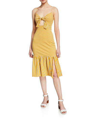 Doris Striped Tie-Front Sleeveless Midi Dress