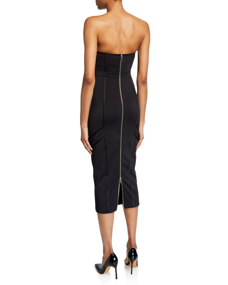Misha Lea Strapless Bustier Zip-Back Cocktail Dress