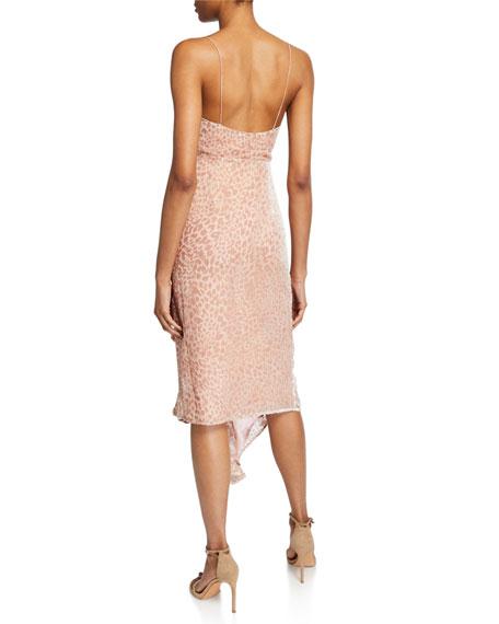 Misha Emilia Cowl-Neck Sleeveless Asymmetric Ruffle Devore Slip Dress