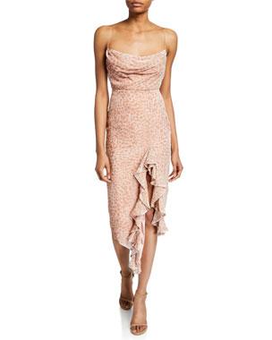 88b23a906d8 Misha Emilia Cowl-Neck Sleeveless Asymmetric Ruffle Devore Slip Dress