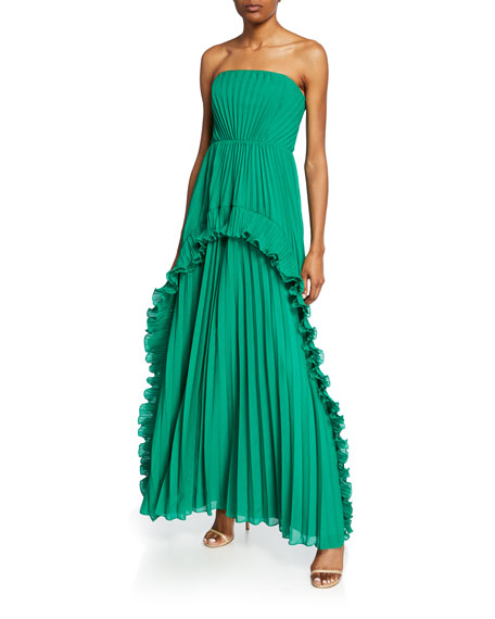 Halston Heritage Tops STRAPLESS PLEATED GOWN WITH RUFFLES