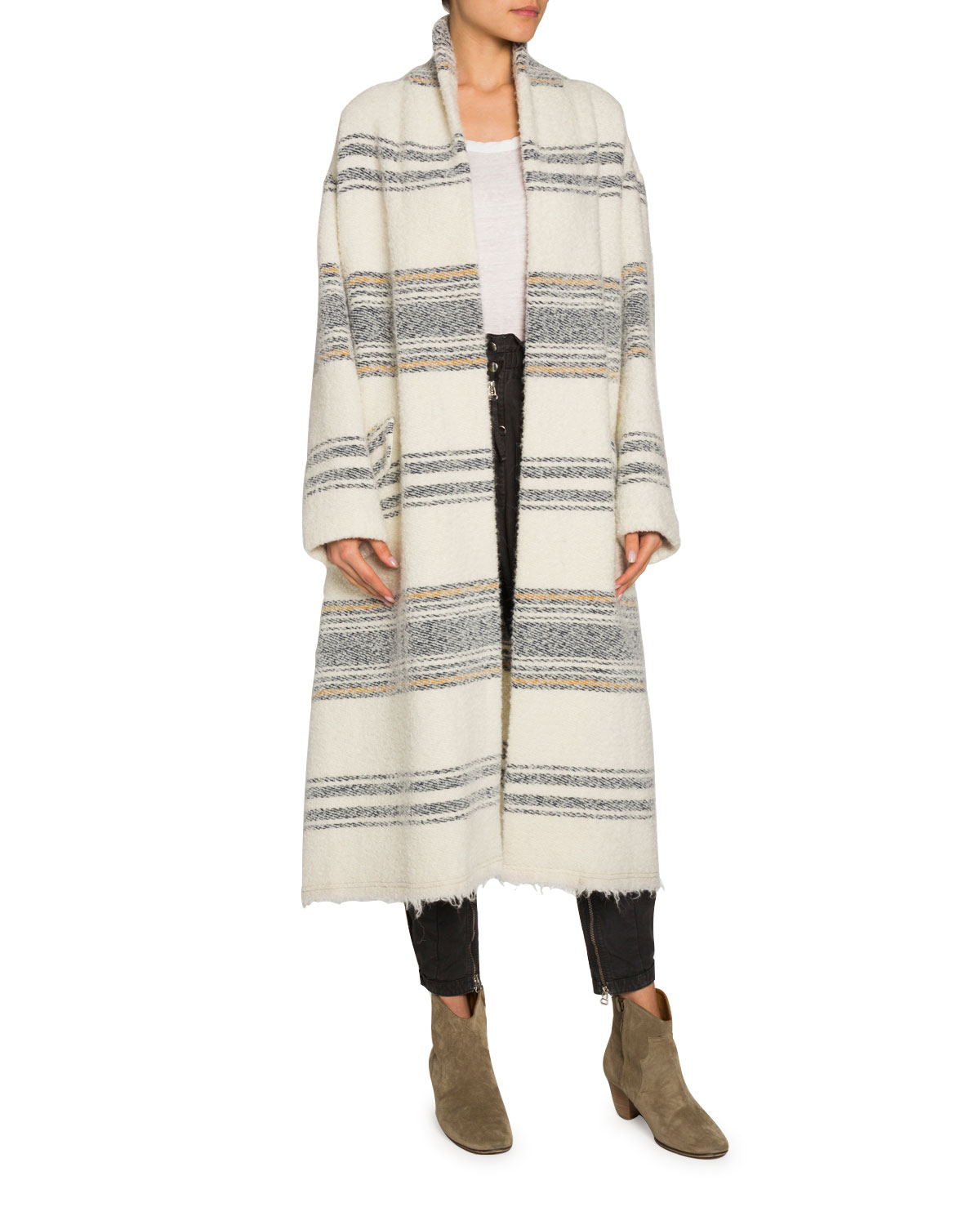 Faby Striped Wool Alpaca Long Coat by Etoile Isabel Marant