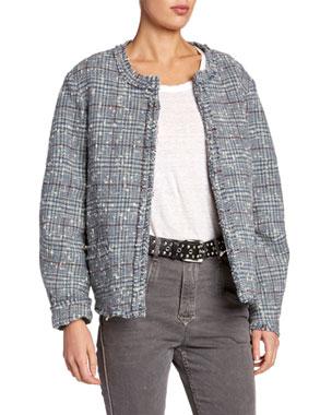 d90457c625e Etoile Isabel Marant Ovia Collarless Tweed Jacket